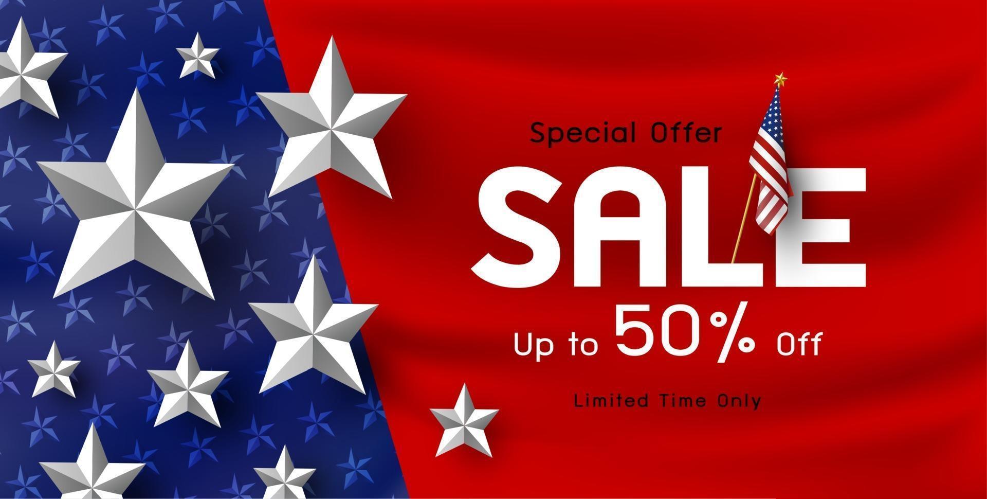 Ilustración de vector de fondo de banner de venta de vacaciones de América