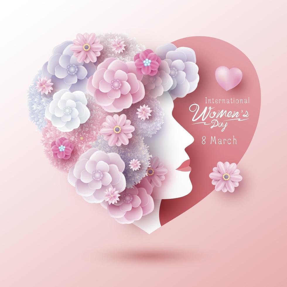 8 de marzo diseño de concepto del día internacional de la mujer de mujer y flores en forma de corazón ilustración vectorial vector