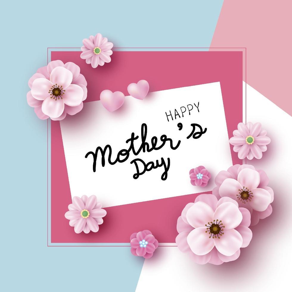 Diseño de tarjeta del día de la madre de flores rosadas en la ilustración de vector de fondo de papel de color