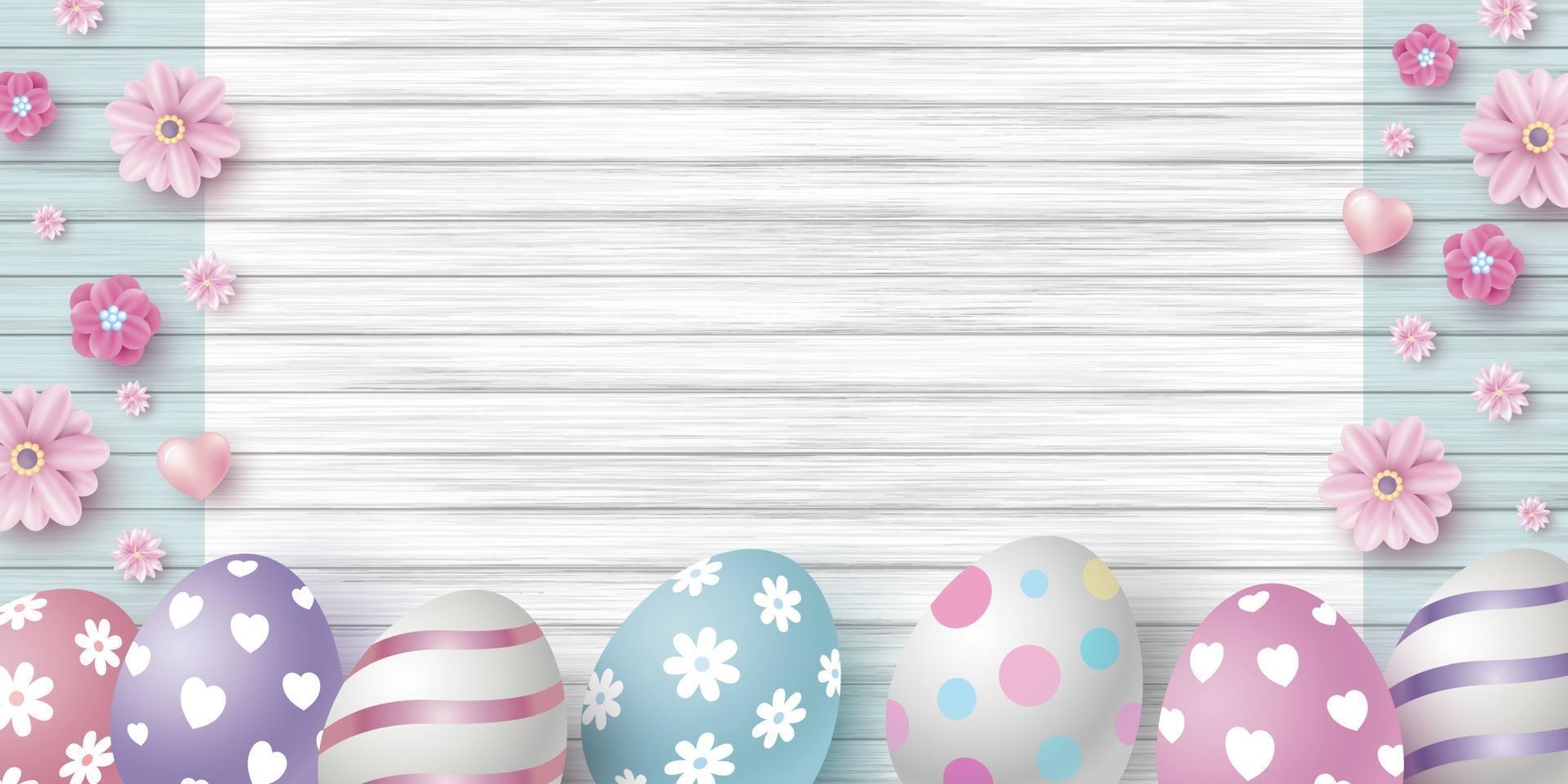 Diseño del día de Pascua de huevos y flores en la ilustración de vector de fondo de textura de madera blanca