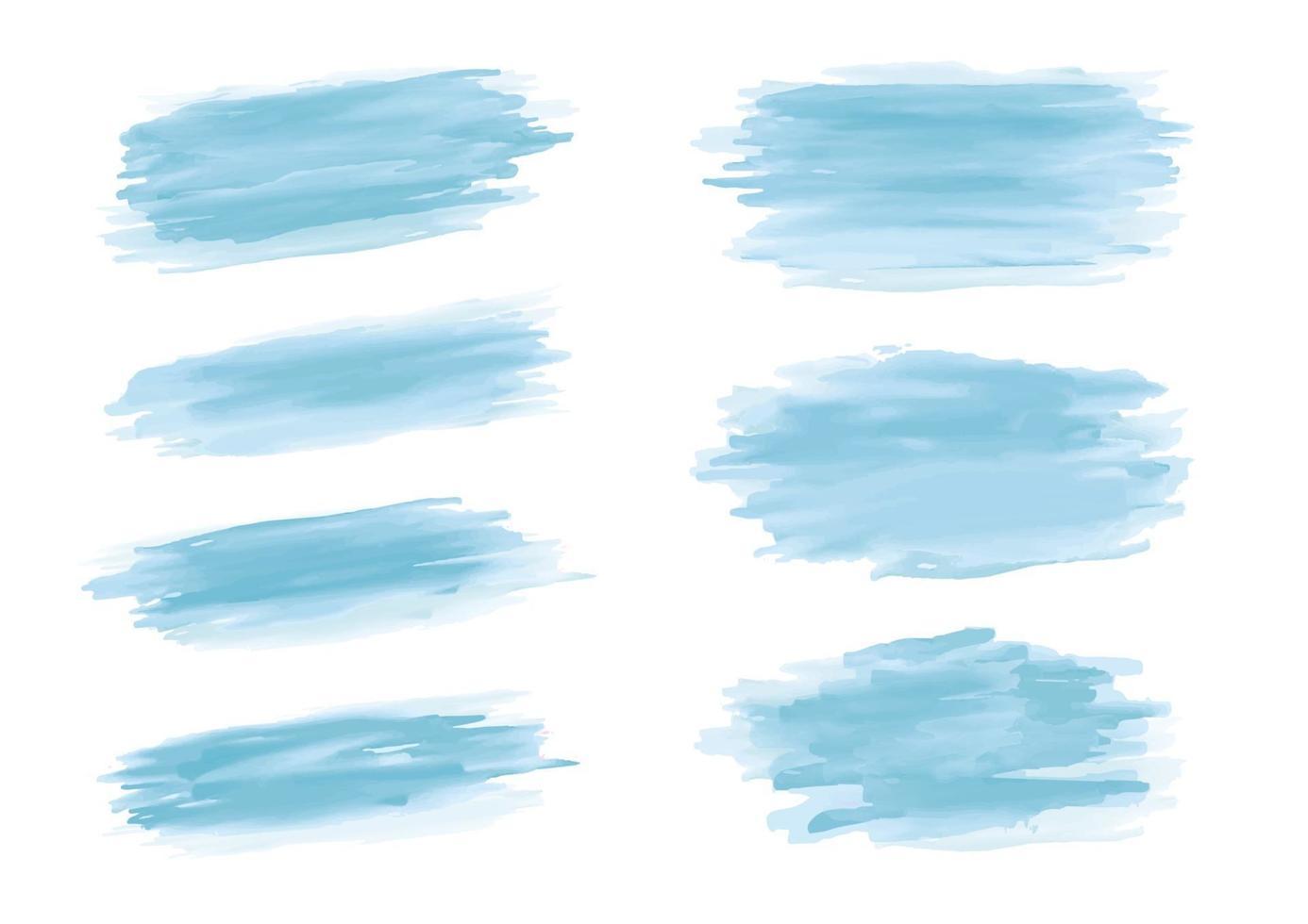 Trazo de pincel de acuarela azul sobre fondo blanco ilustración vectorial vector