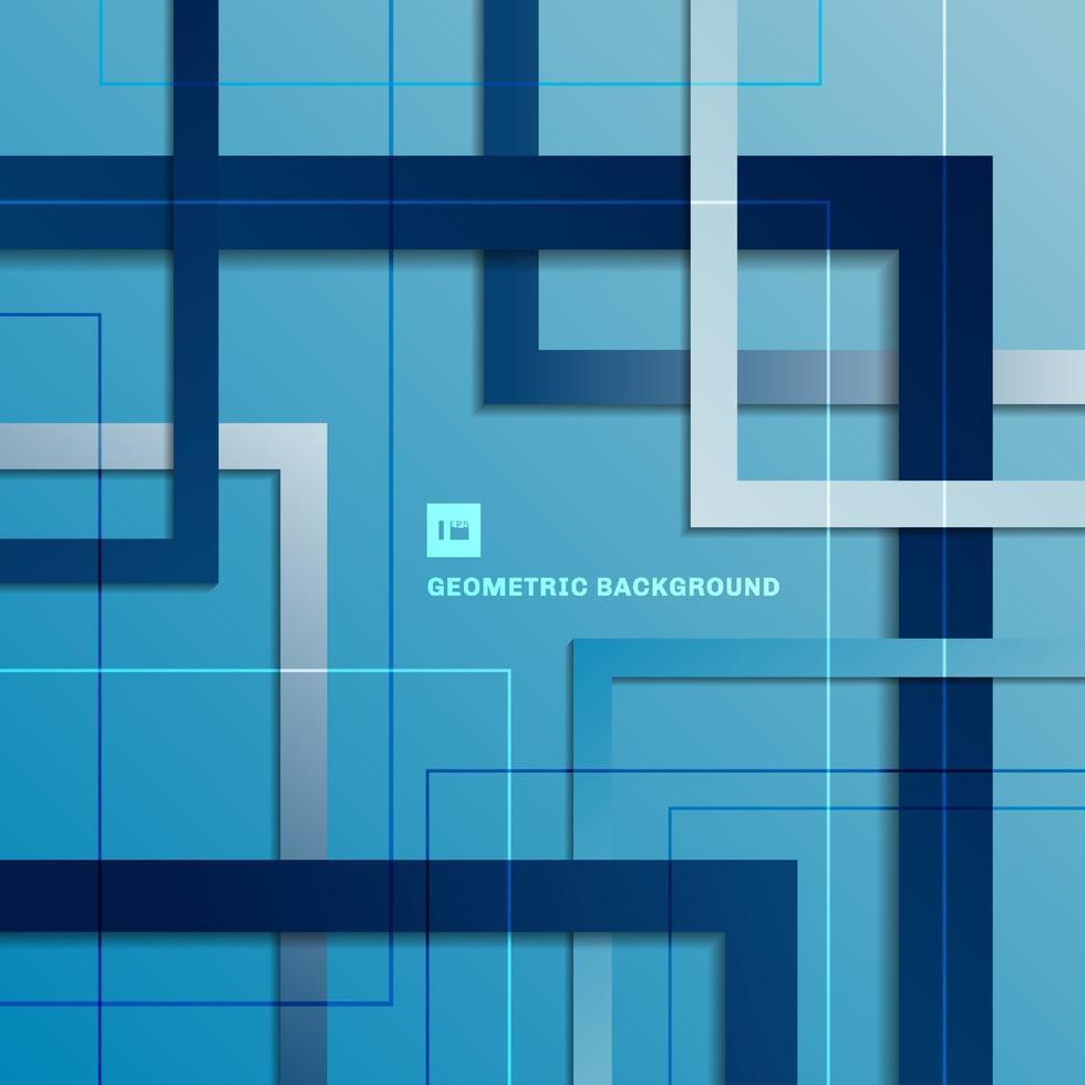 Fondo de capa superpuesta cuadrado geométrico degradado azul abstracto. vector