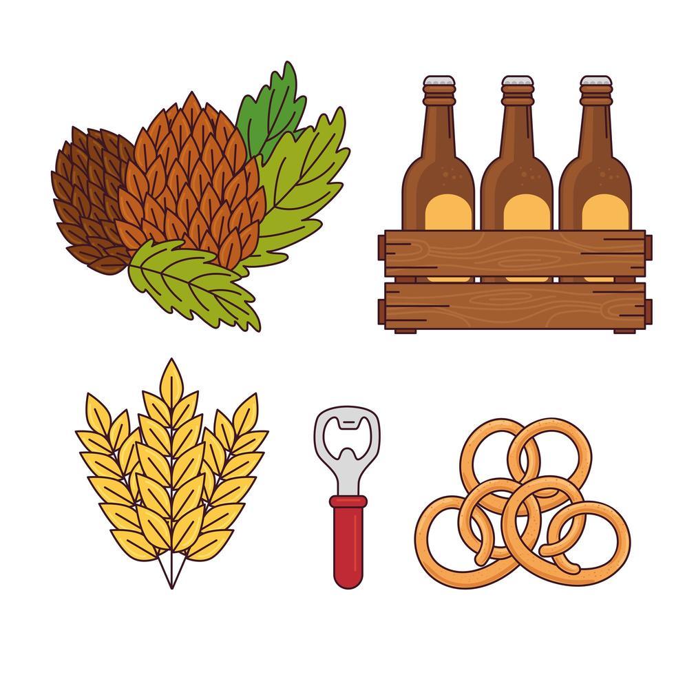 colección de iconos de cerveza vector
