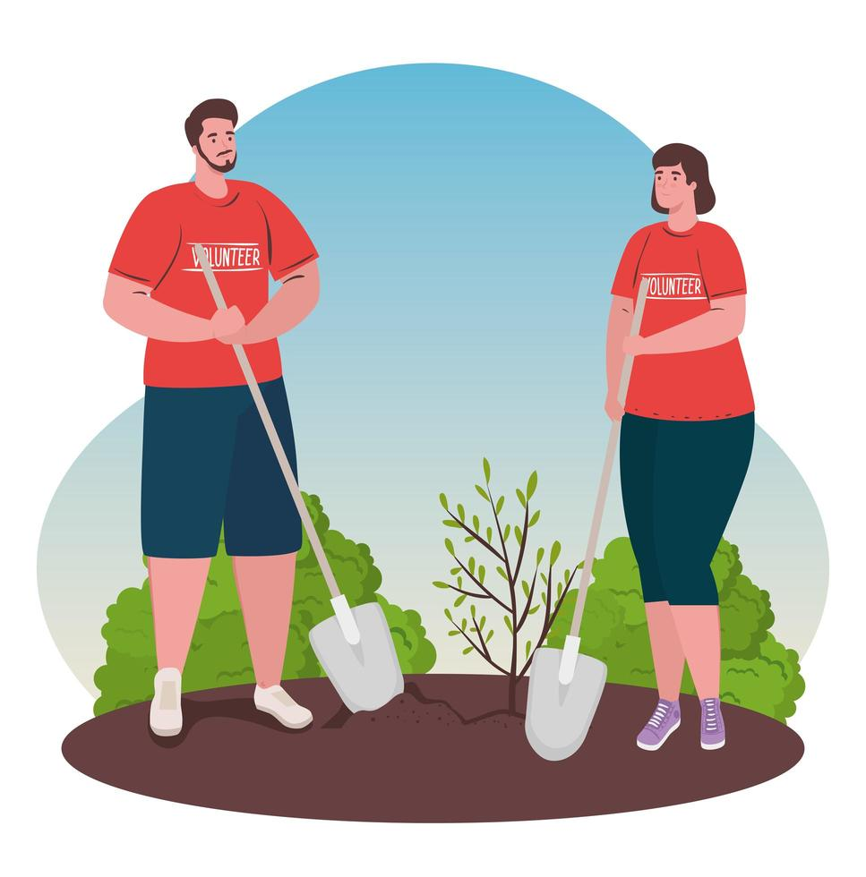 personas voluntarias plantando un árbol, concepto de estilo de vida ecológico vector