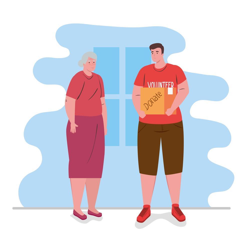 Hombre voluntario ayudando a una anciana con la compra. vector