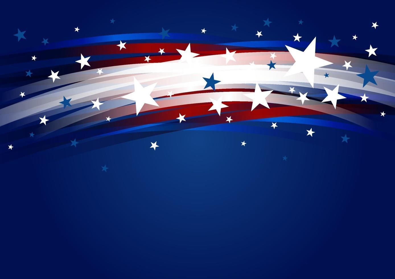Diseño de fondo abstracto de Estados Unidos de gradiente de línea y estrella 4 de julio día de la independencia ilustración vectorial vector