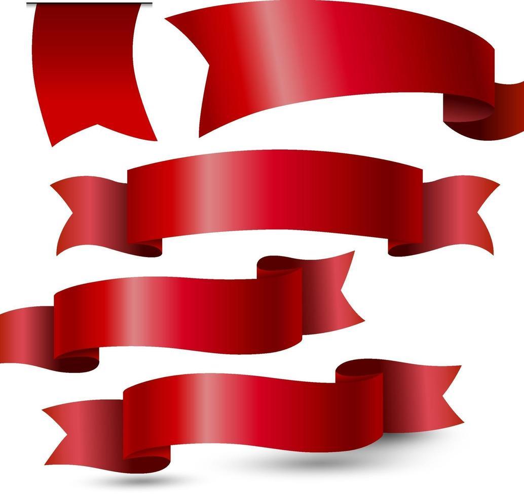 cinta roja sobre fondo blanco ilustración vectorial vector