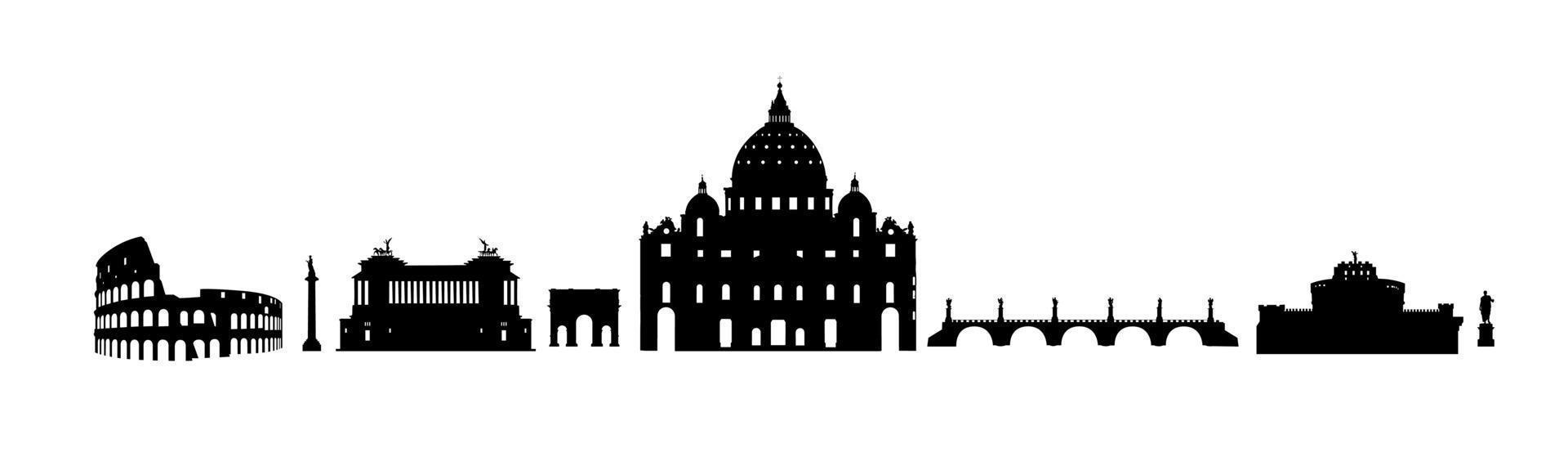 Roma viajes conjunto de landark arquitectónico. lugares famosos italianos. construcción de iconos de silueta. vector