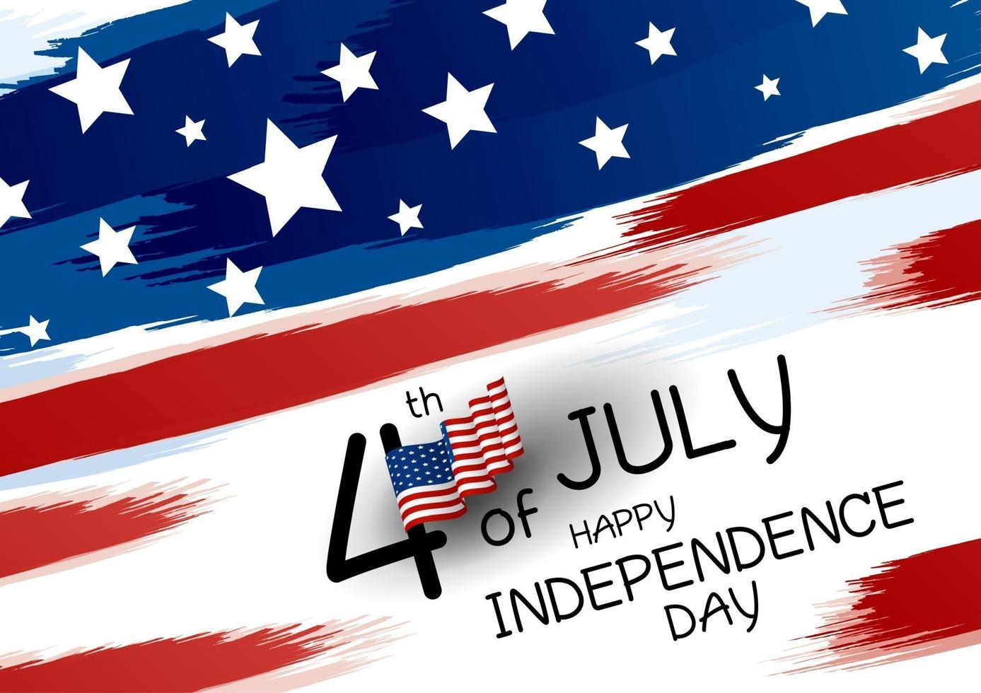 4 de julio feliz día de la independencia diseño banner de bandera americana y pincel sobre fondo blanco ilustración vectorial vector