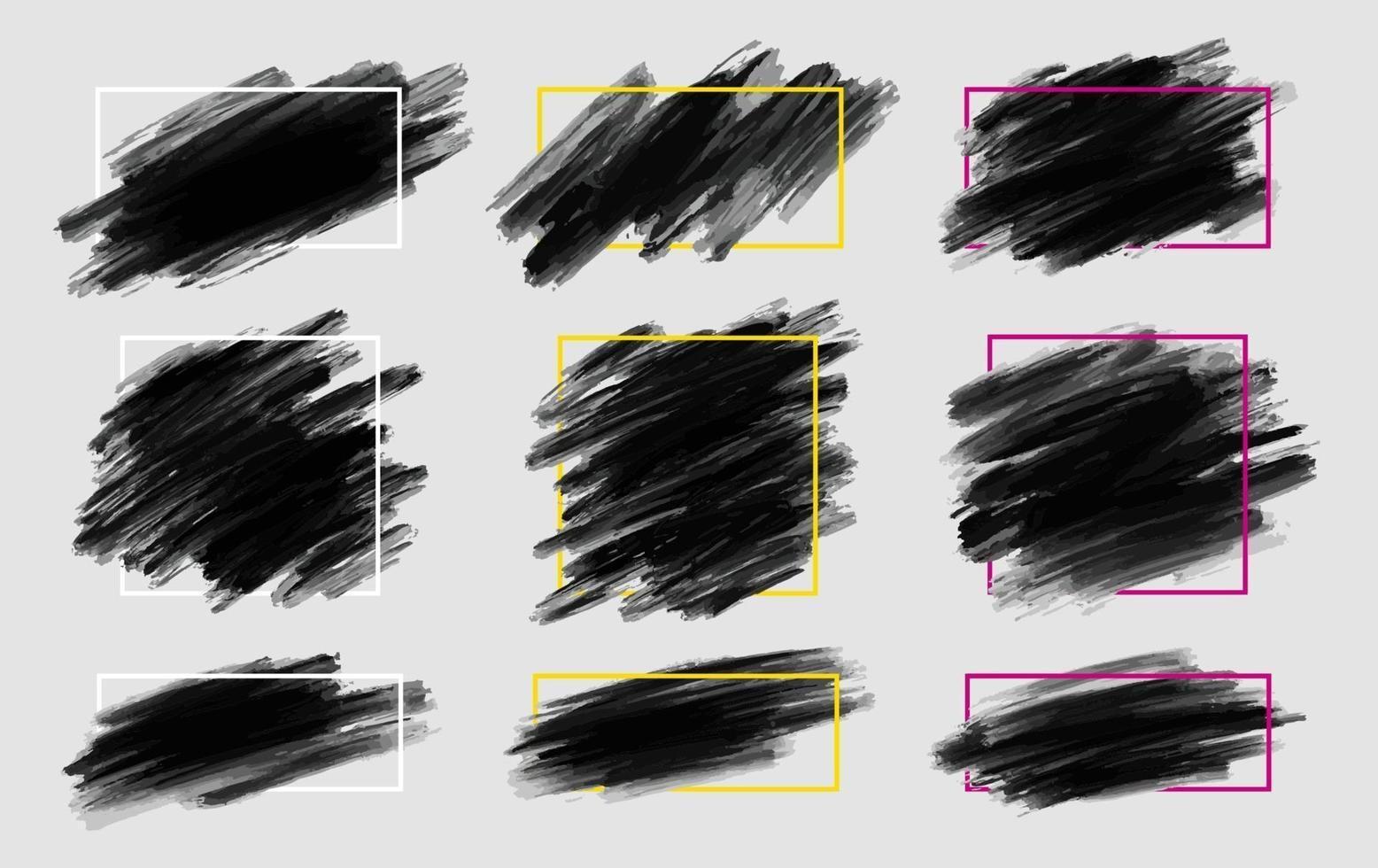 Trazo de pincel negro con marco de línea sobre fondo gris ilustración vectorial vector