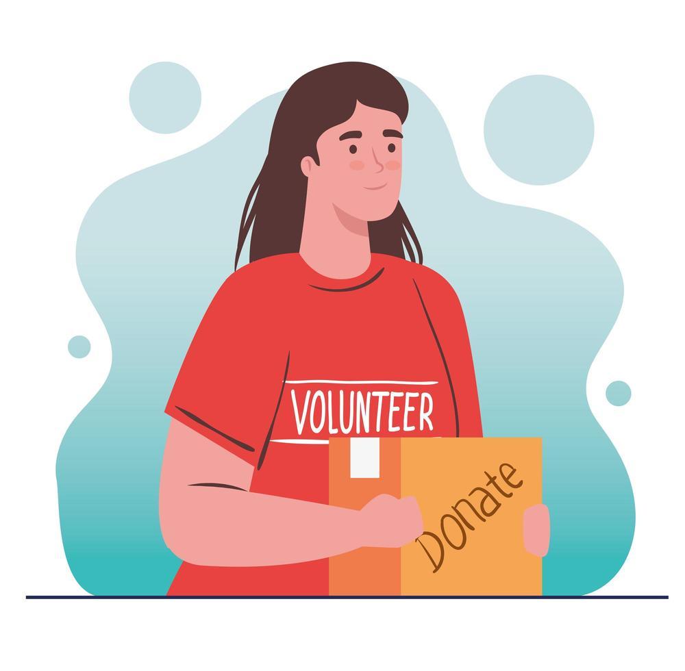 Mujer voluntaria sosteniendo una bolsa de donación, concepto de donación de caridad y atención social vector