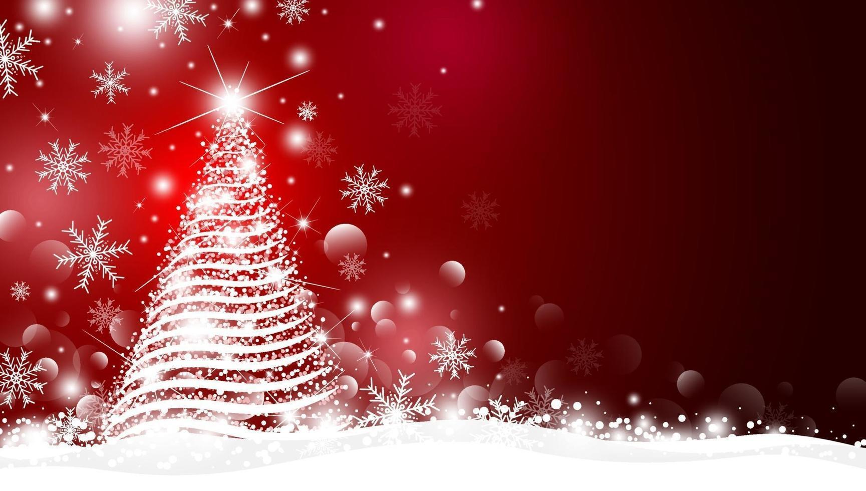 árbol de navidad y luz con diseño bokeh sobre fondo rojo ilustración vectorial vector