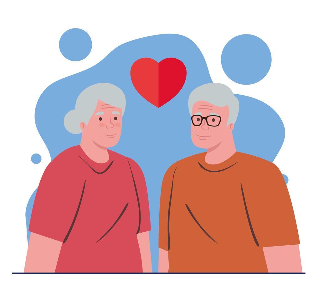 pareja de ancianos enamorados vector