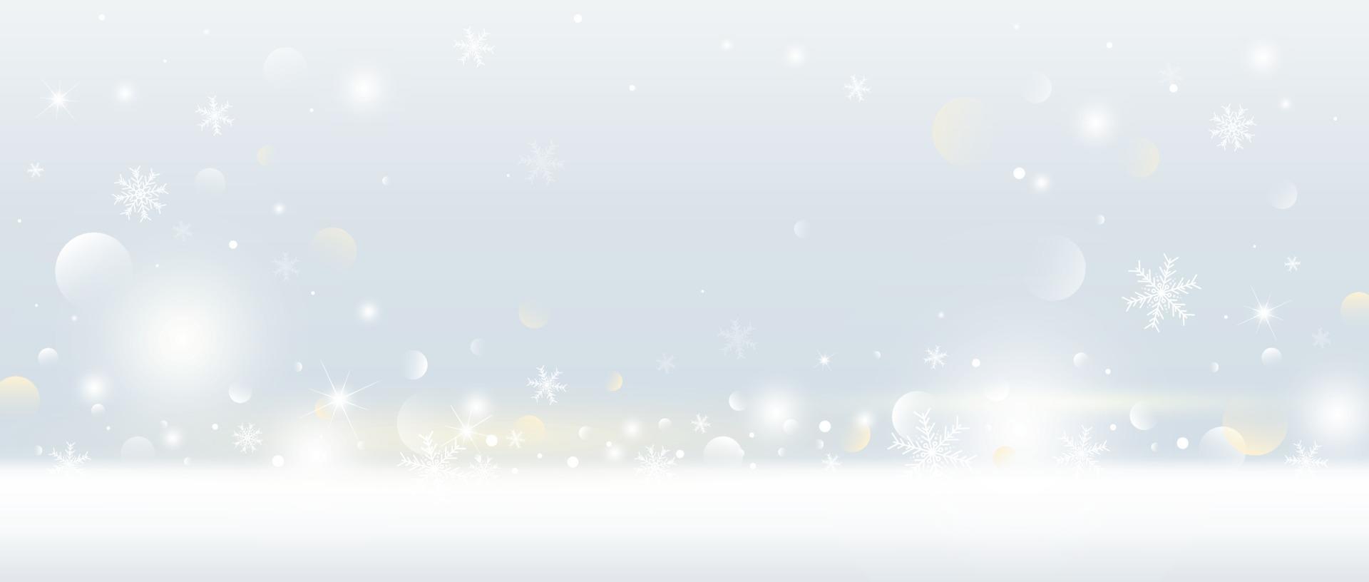 Diseño de fondo de Navidad de copo de nieve y nieve cayendo con luces bokeh ilustración vectorial vector