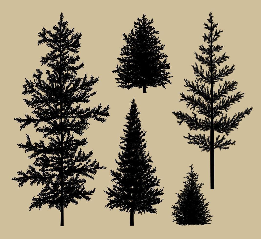silueta de abeto en la ilustración de vector de fondo de papel marrón
