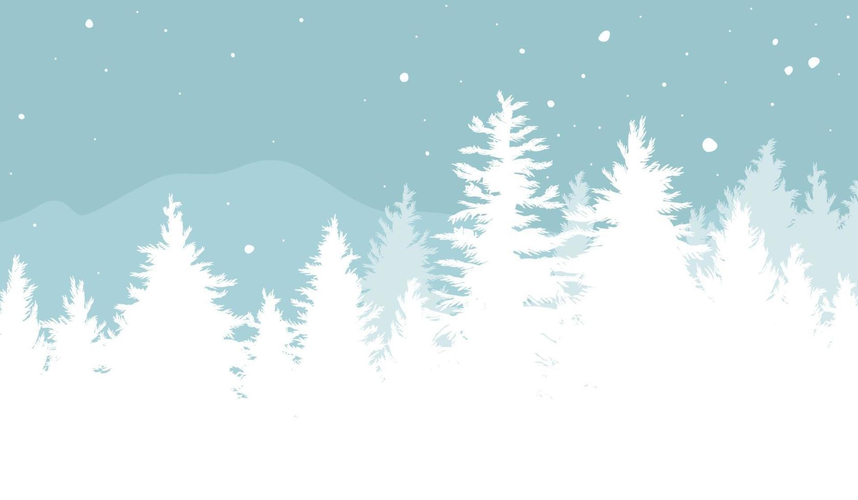 Diseño de fondo de Navidad de abetos con nieve cayendo en la ilustración de vector de invierno