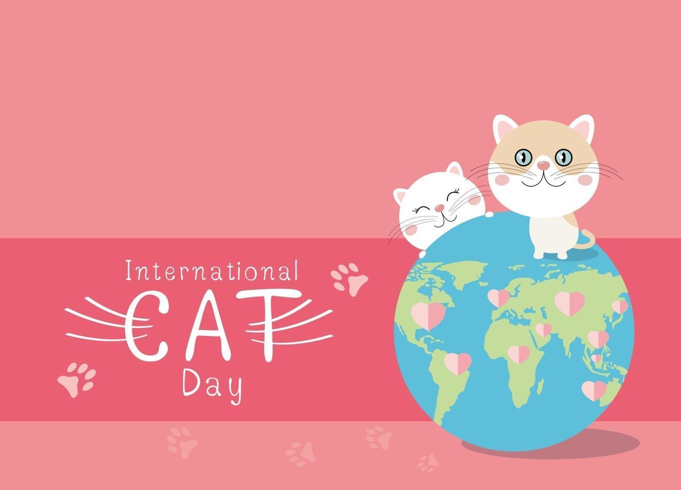 Diseño del día internacional del gato sobre fondo rosa ilustración vectorial vector