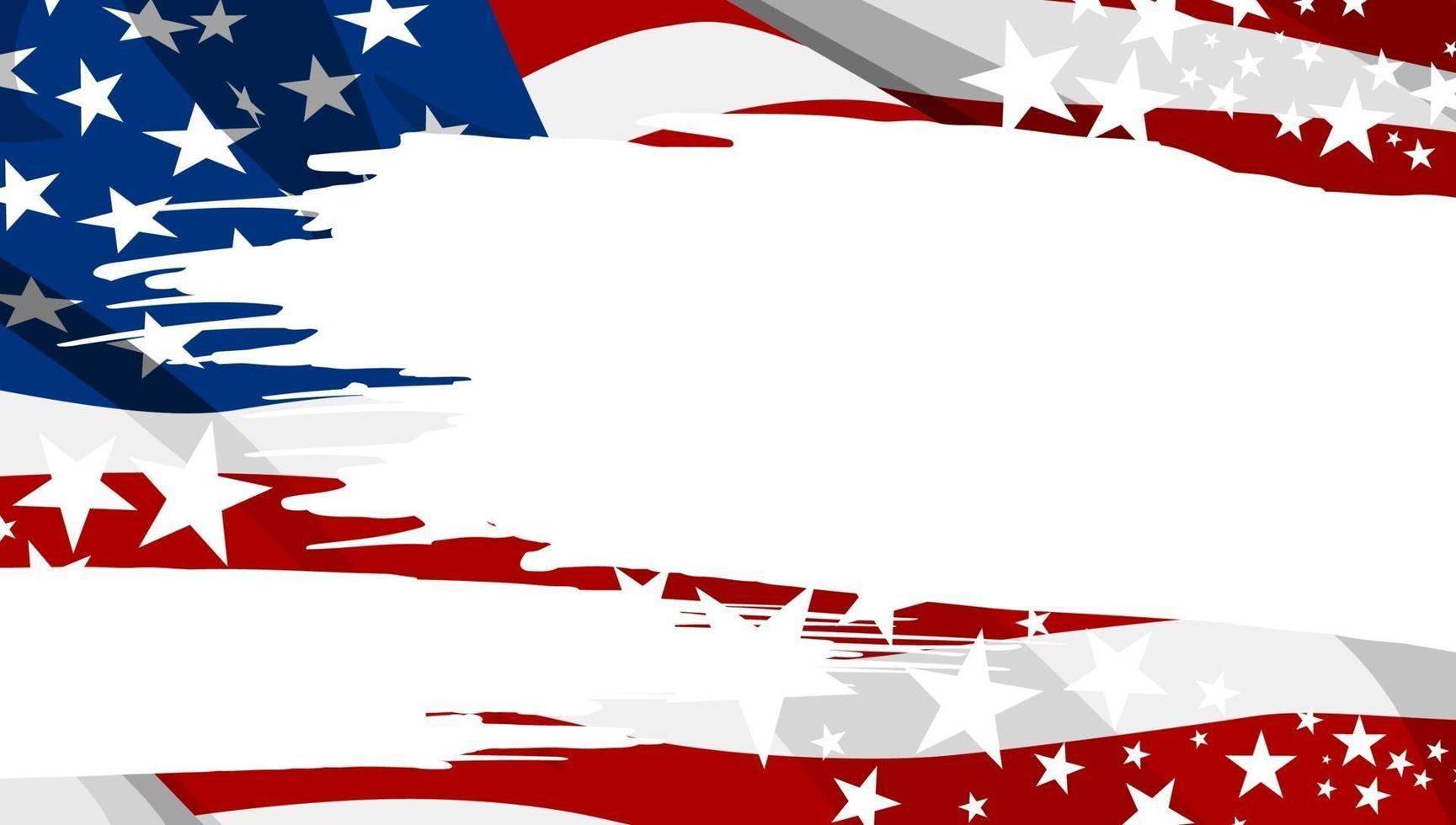 Ilustración de vector de fondo de banner de pincel de bandera de Estados Unidos abstracto