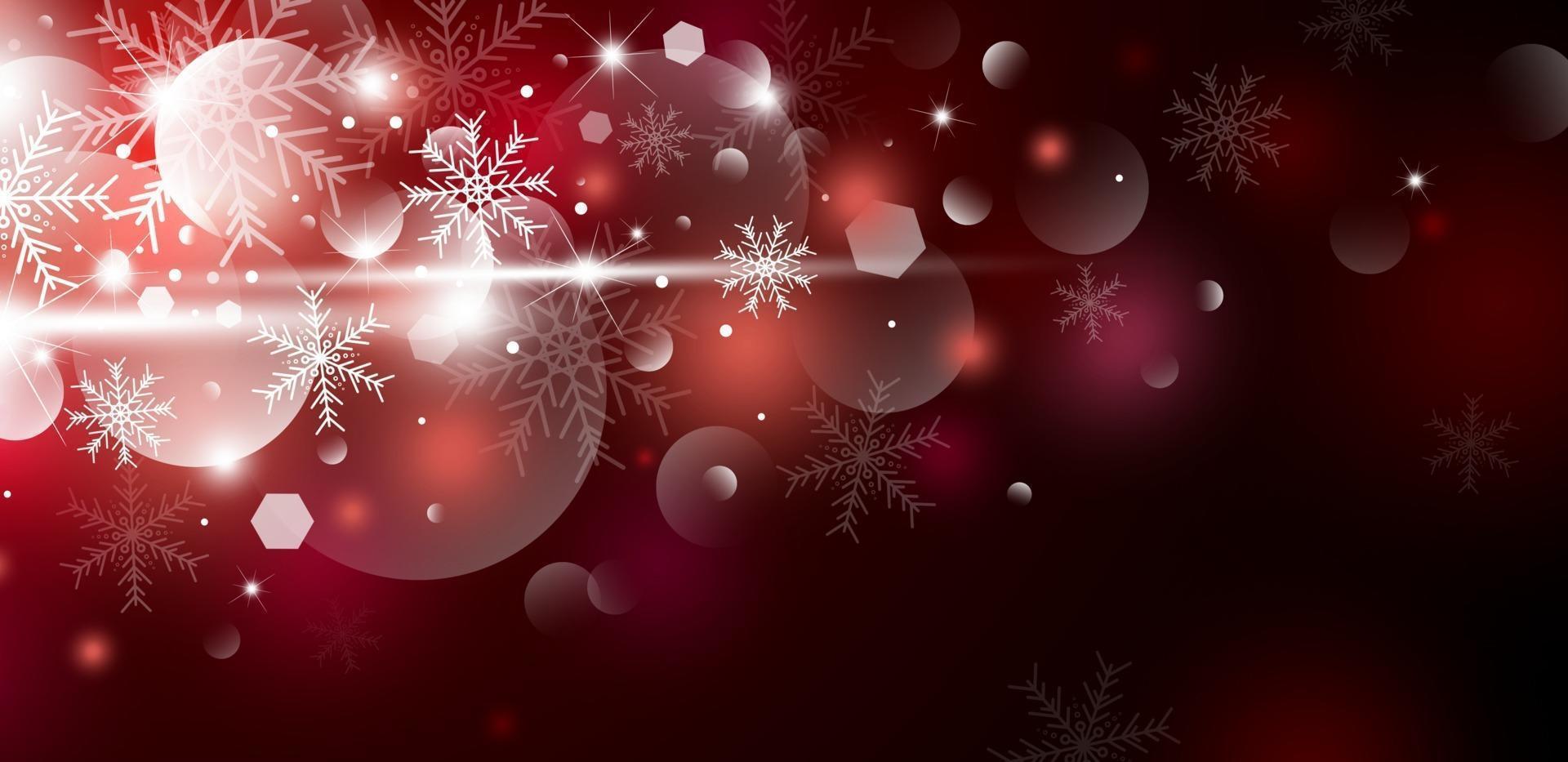 Diseño de concepto de fondo de Navidad de copo de nieve blanco y nieve con ilustración de vector de bokeh
