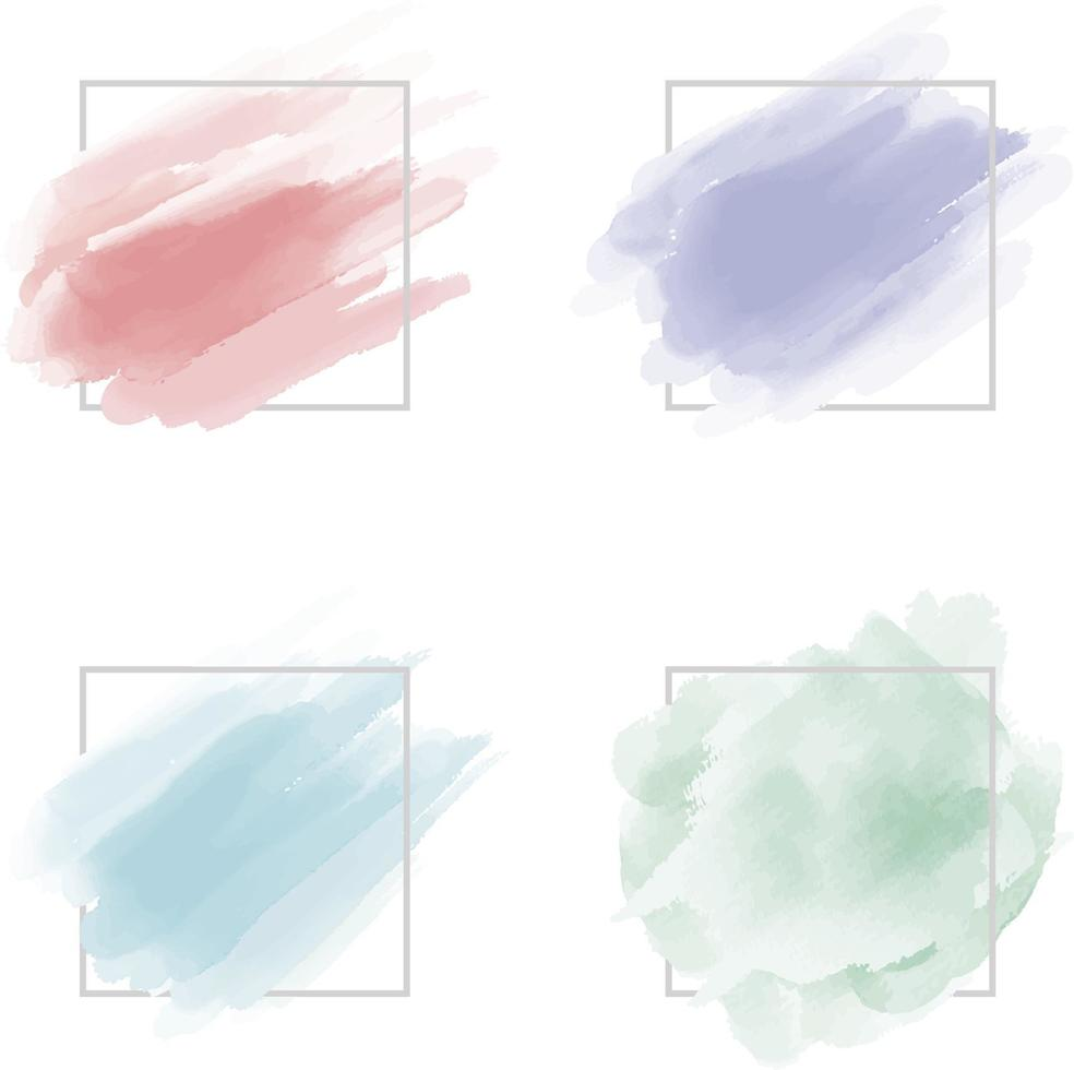 Trazo de pincel de acuarela con marco de línea sobre fondo blanco ilustración vectorial vector