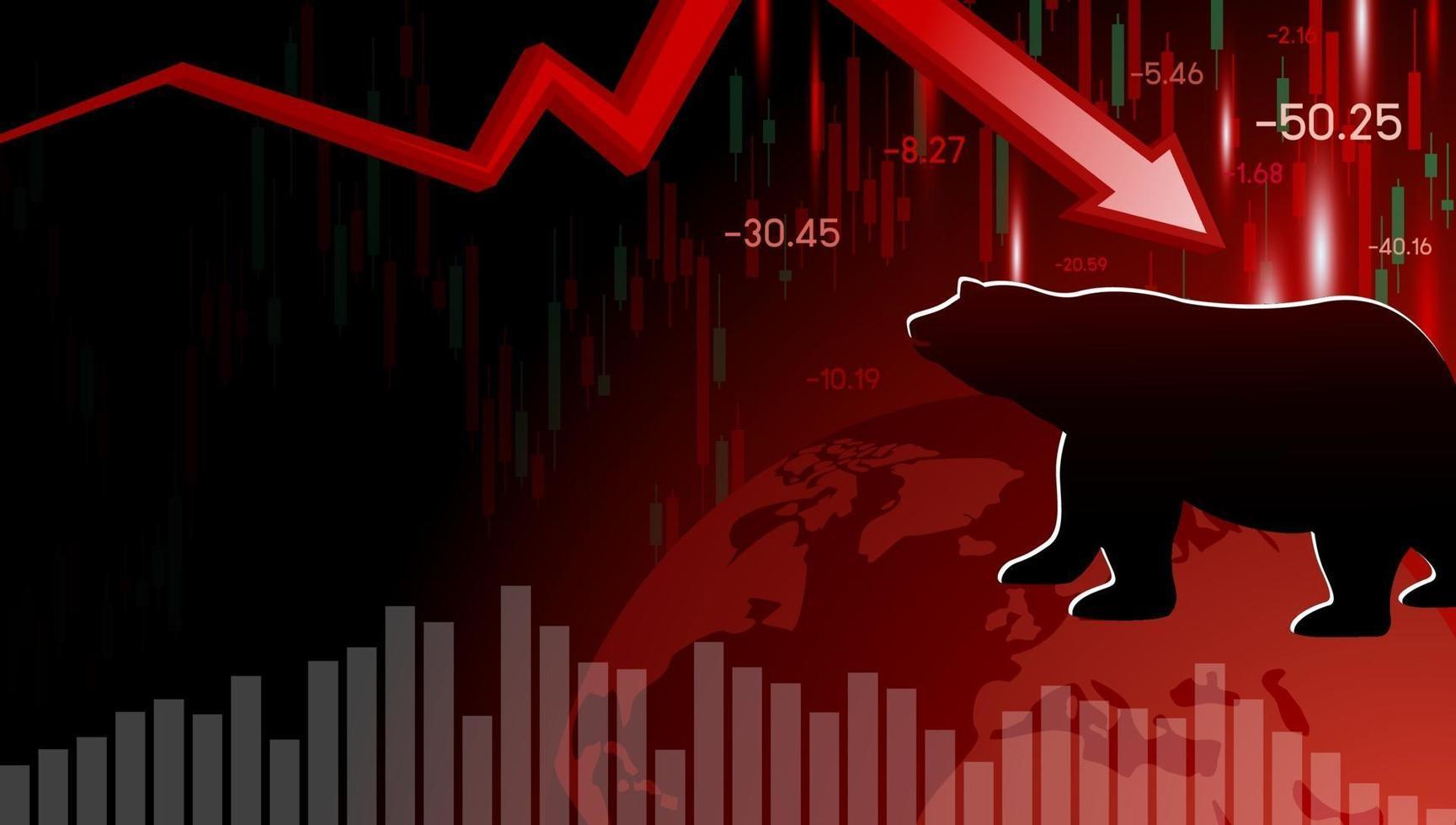 Diseño del mercado bajista de la ilustración de vector de crisis económica