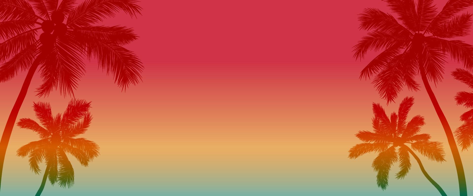 Diseño de fondo de verano de cocotero con ilustración de vector de espacio de copia