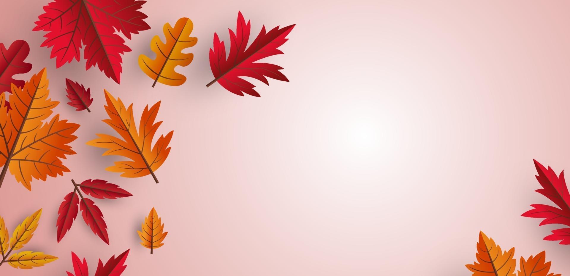 Diseño de fondo de hojas de otoño con ilustración de vector de espacio de copia
