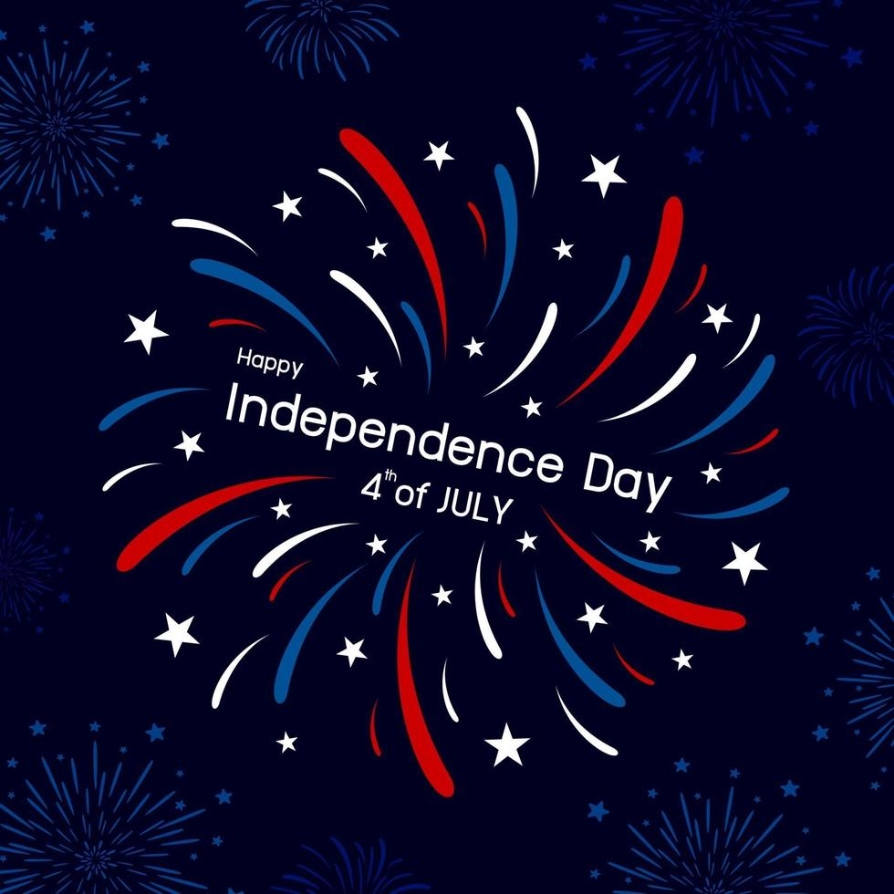 Diseño de fuegos artificiales del 4 de julio feliz día de la independencia ilustración vectorial vector