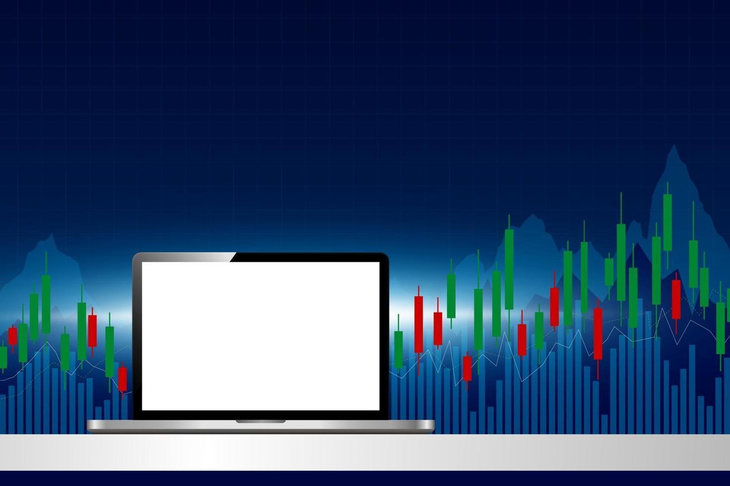 Computadora portátil con ilustración de vector de fondo de mercado de valores