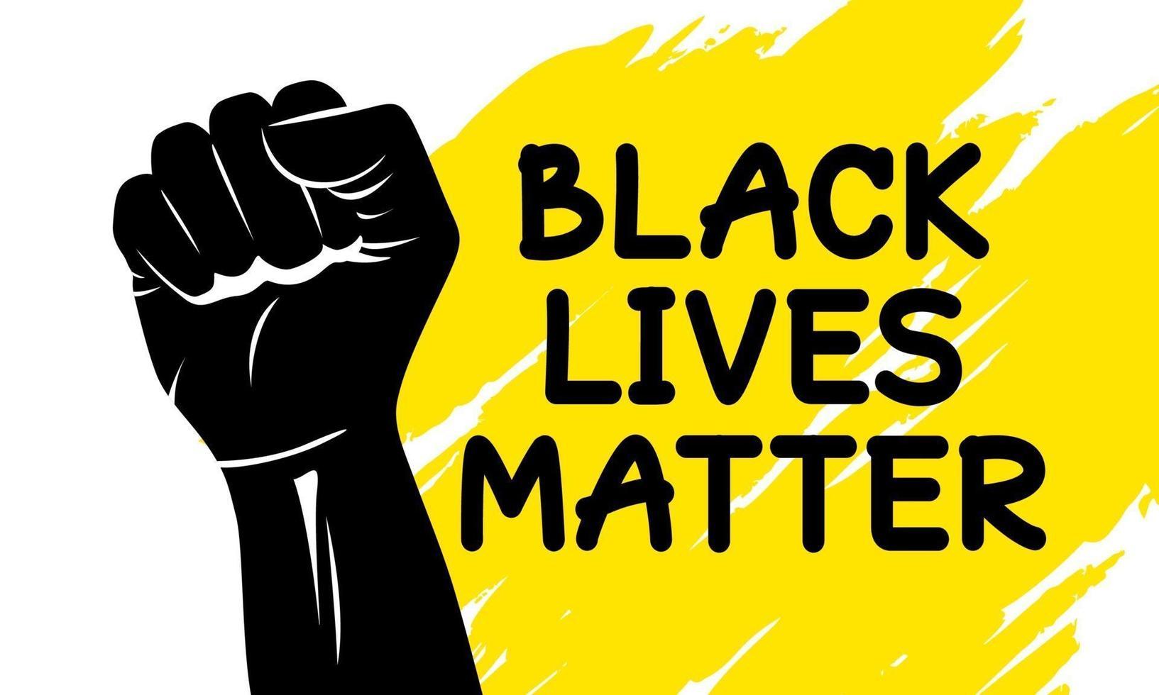 Las vidas negras importan el diseño de la ilustración de vector de puño de silueta