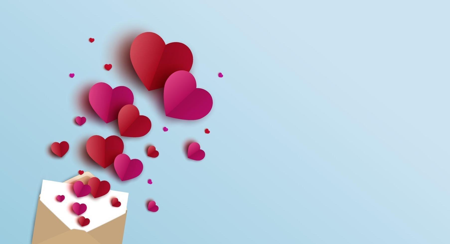 Diseño de banner de San Valentín de sobre y corazones ilustración vectorial vector
