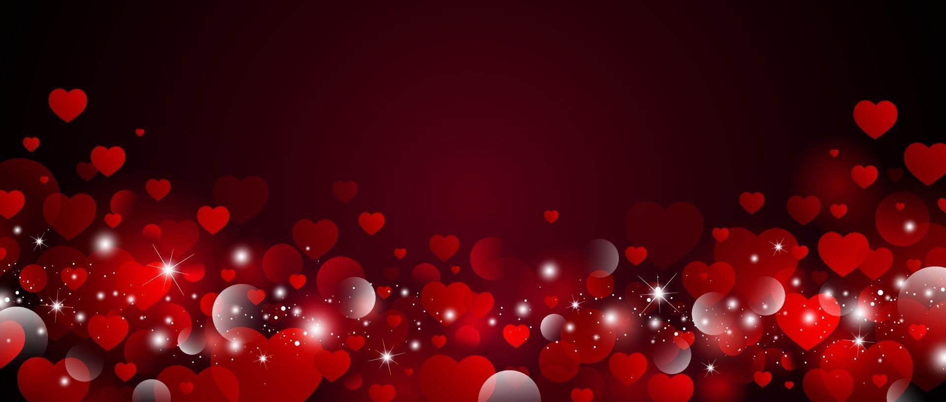 Diseño de fondo del día de San Valentín de corazones rojos con ilustración de vector de luz bokeh