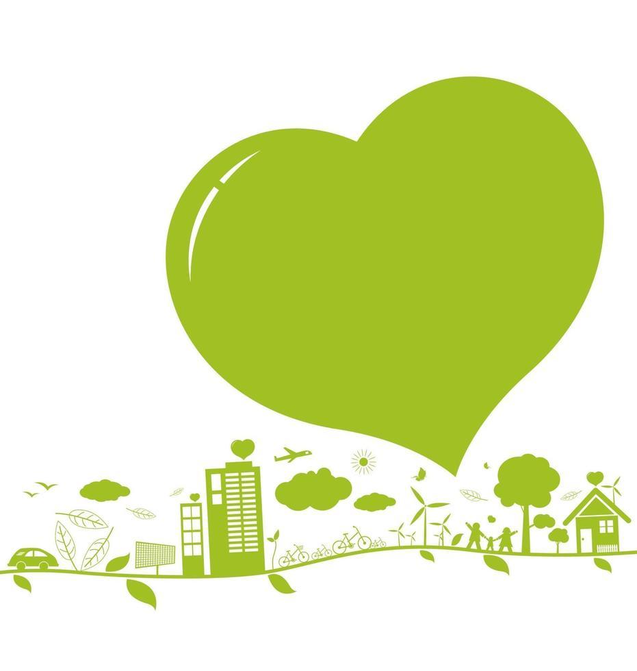 Piense en el diseño de conceptos verdes y ecología sobre fondo blanco. vector
