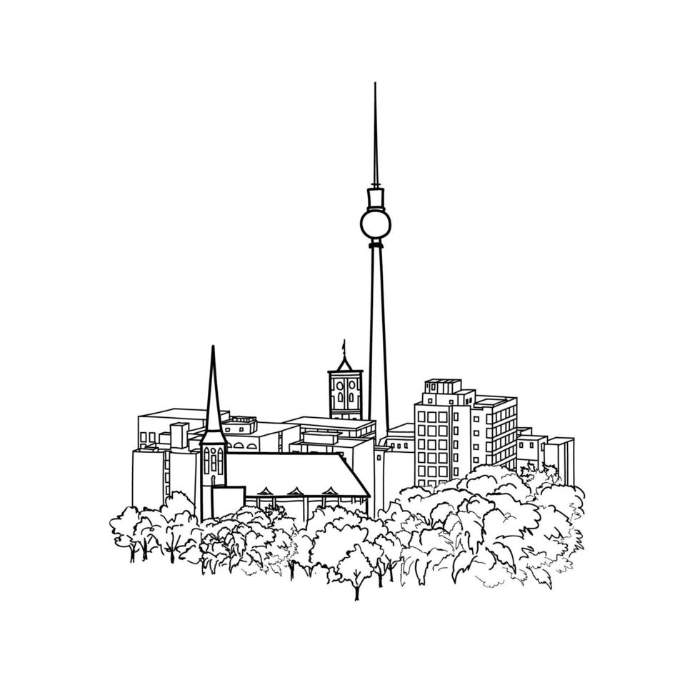 berlín, alemania paisaje urbano. famoso horizonte con torre de tv vector