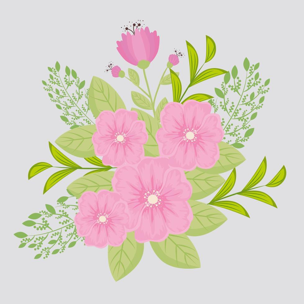 flores rosadas con ramas y hojas para la decoración de la naturaleza vector
