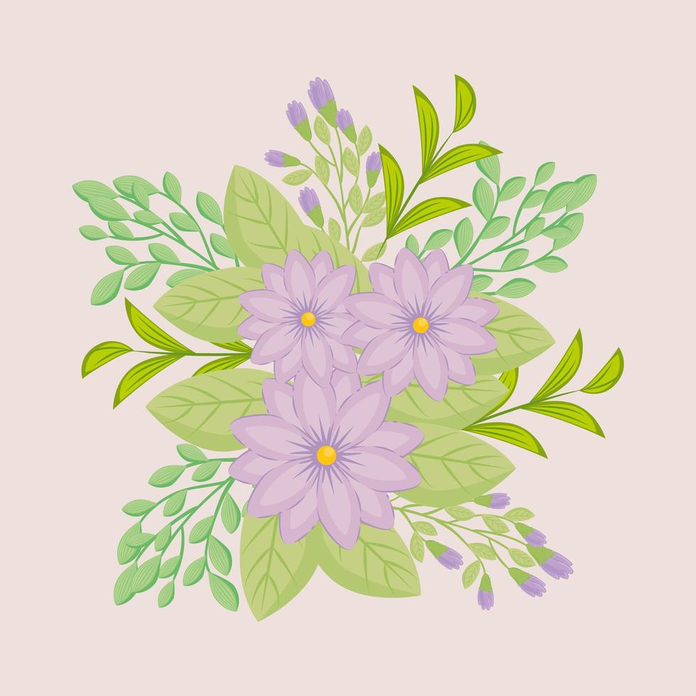 flores de color púrpura con ramas y hojas para la decoración de la naturaleza vector