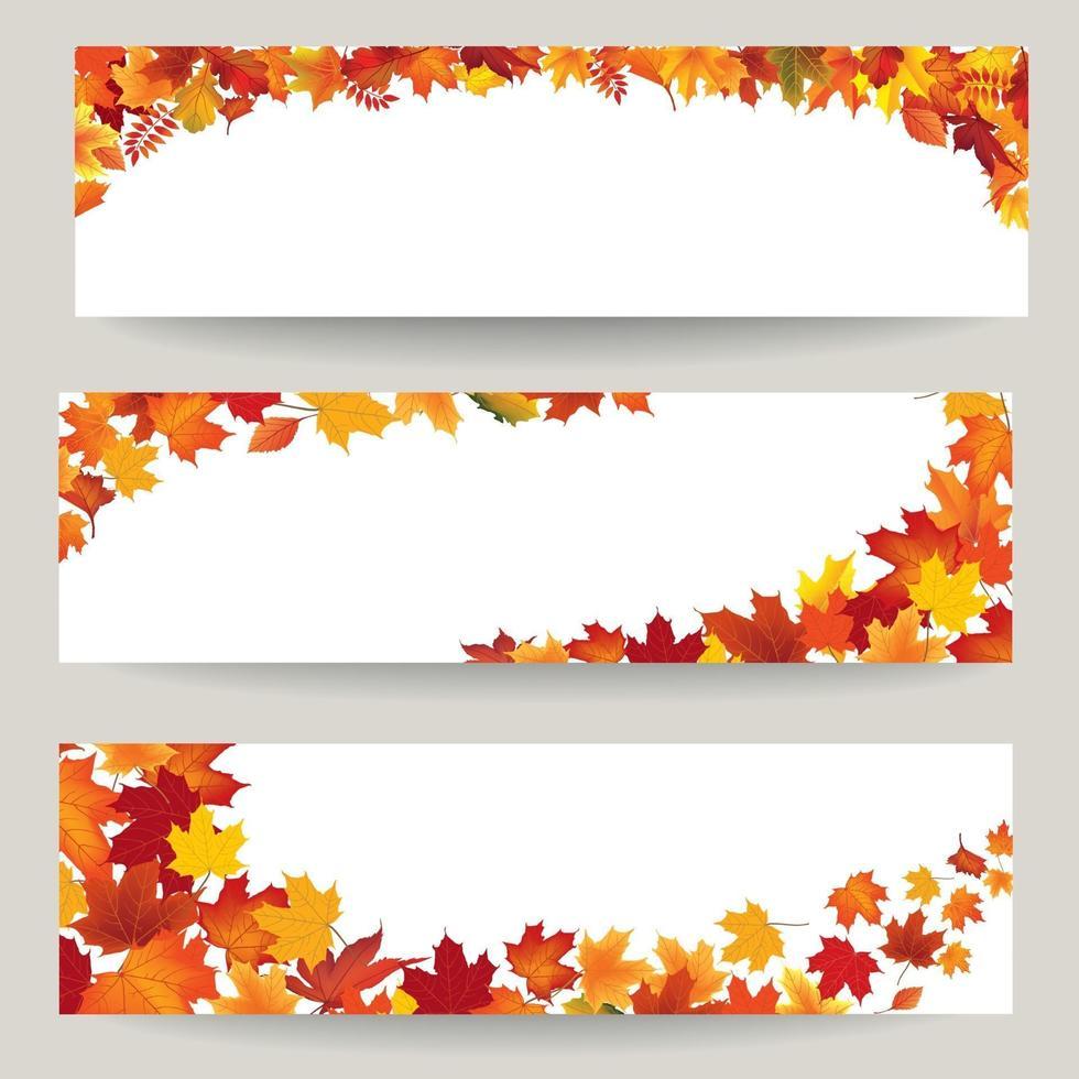 conjunto de banner de hojas de otoño. remolino de fondo de hoja de otoño. colección de decoración de borde natural vector