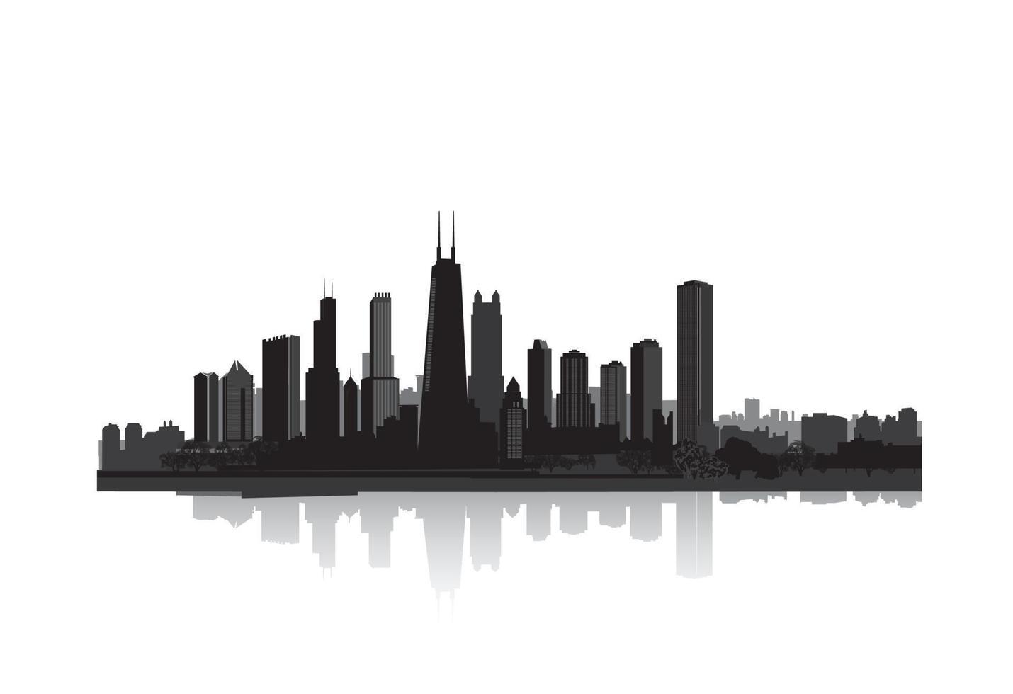 horizonte de la ciudad de chicago. panorama del paisaje urbano americano. vector