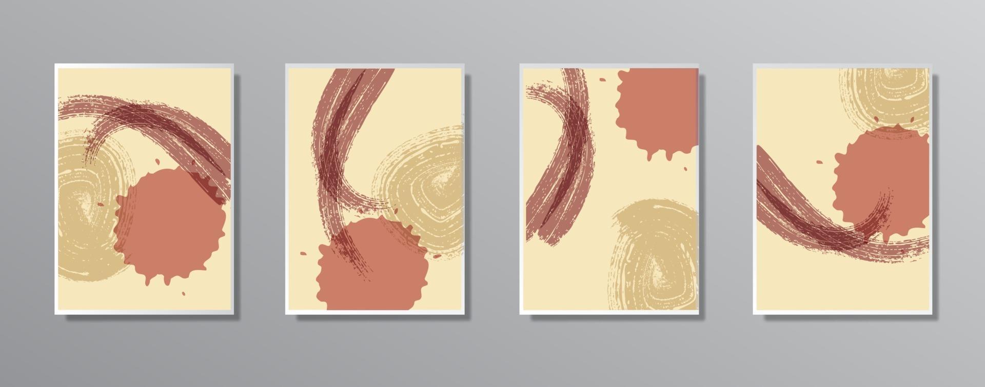 conjunto de ilustraciones en color neutro vintage minimalistas creativas dibujadas a mano vector