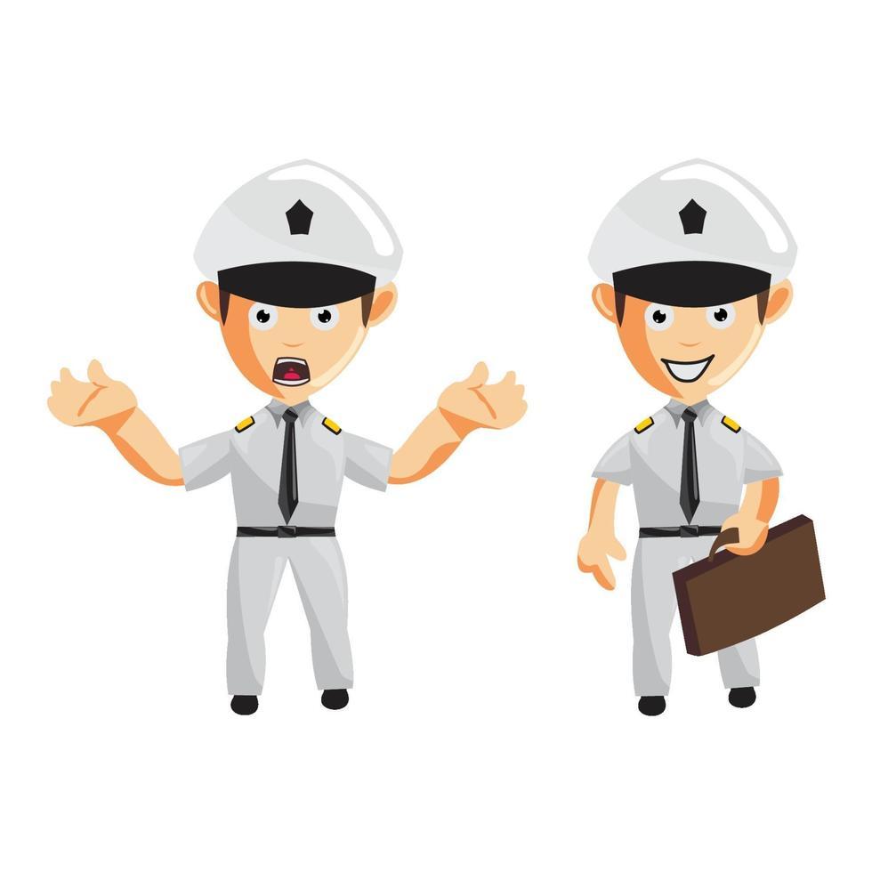 conjunto de personajes de dibujos animados piloto de avión vector