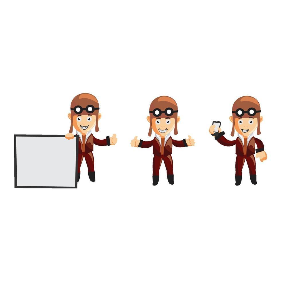 conjunto de ilustración de personaje piloto vector