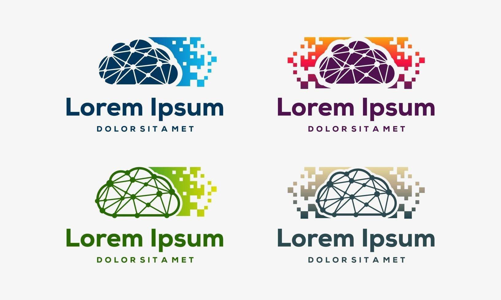 conjunto de diseños de iconos de nube de píxeles modernos vector