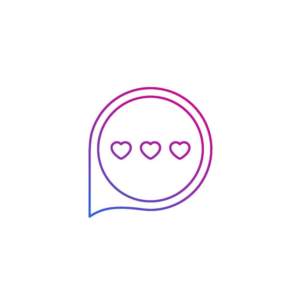 aplicación de citas, icono de chat de amor, vector de línea.eps