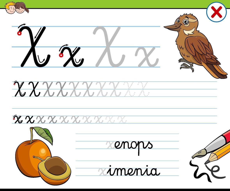 Escribir la hoja de trabajo de la letra x para niños. vector