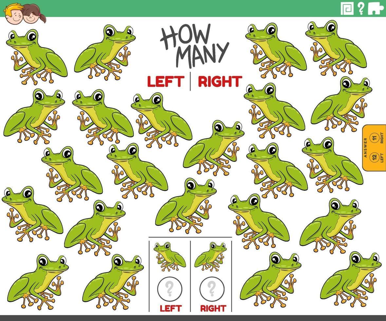contando imágenes de izquierda y derecha de dibujos animados de rana arborí vector
