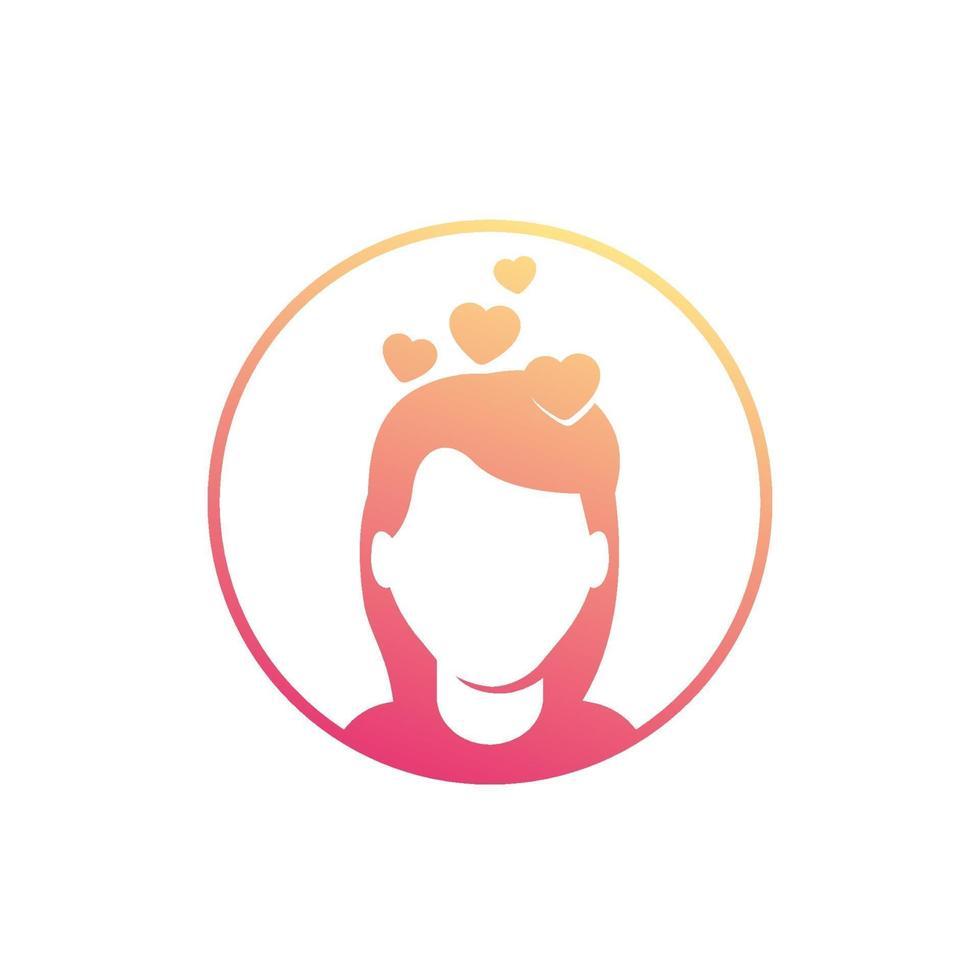 cabeza de niña con corazones, amor, enamoramiento icon.eps vector