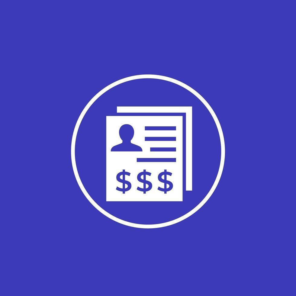 Icono de vector de costo laboral en circle.eps