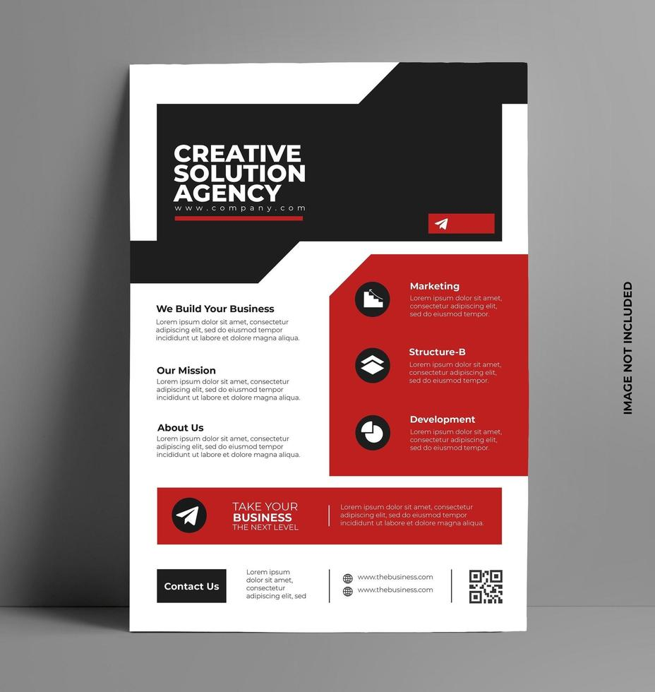 Red and Black Flyer Template in A4 Size. vector