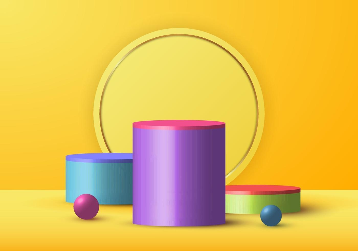 3D realistic yellow rendering and colorful geometric sphere. Cylinder studio decoration for display showcase and gold circle background vector