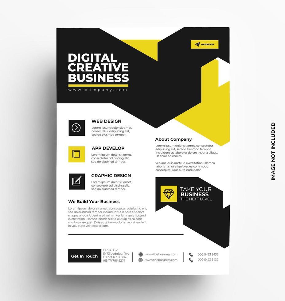 Corporate Sleek Yellow Flyer Template. vector